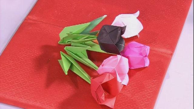 Тюльпан в техниці оригамі